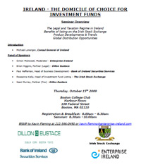 Ireland - The Domicile of Choice for Investment Funds Seminar - New York